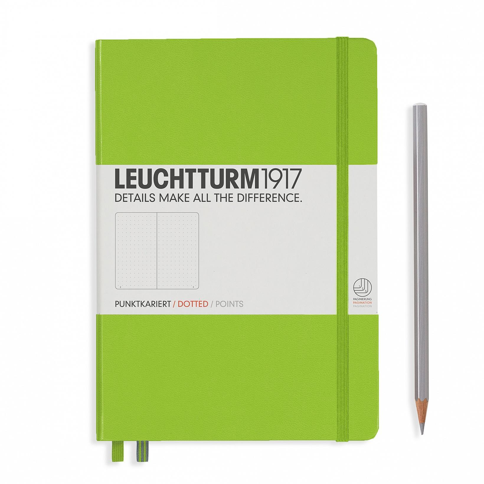 Leuchtturm 1917 A5 Medium Hardcover 249ct Lime Dotted