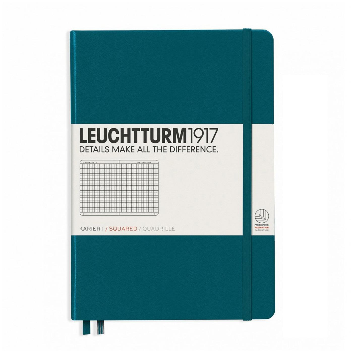 Leuchtturm 1917 A5 Medium Hardcover Notebook – Pacific Green – Grid