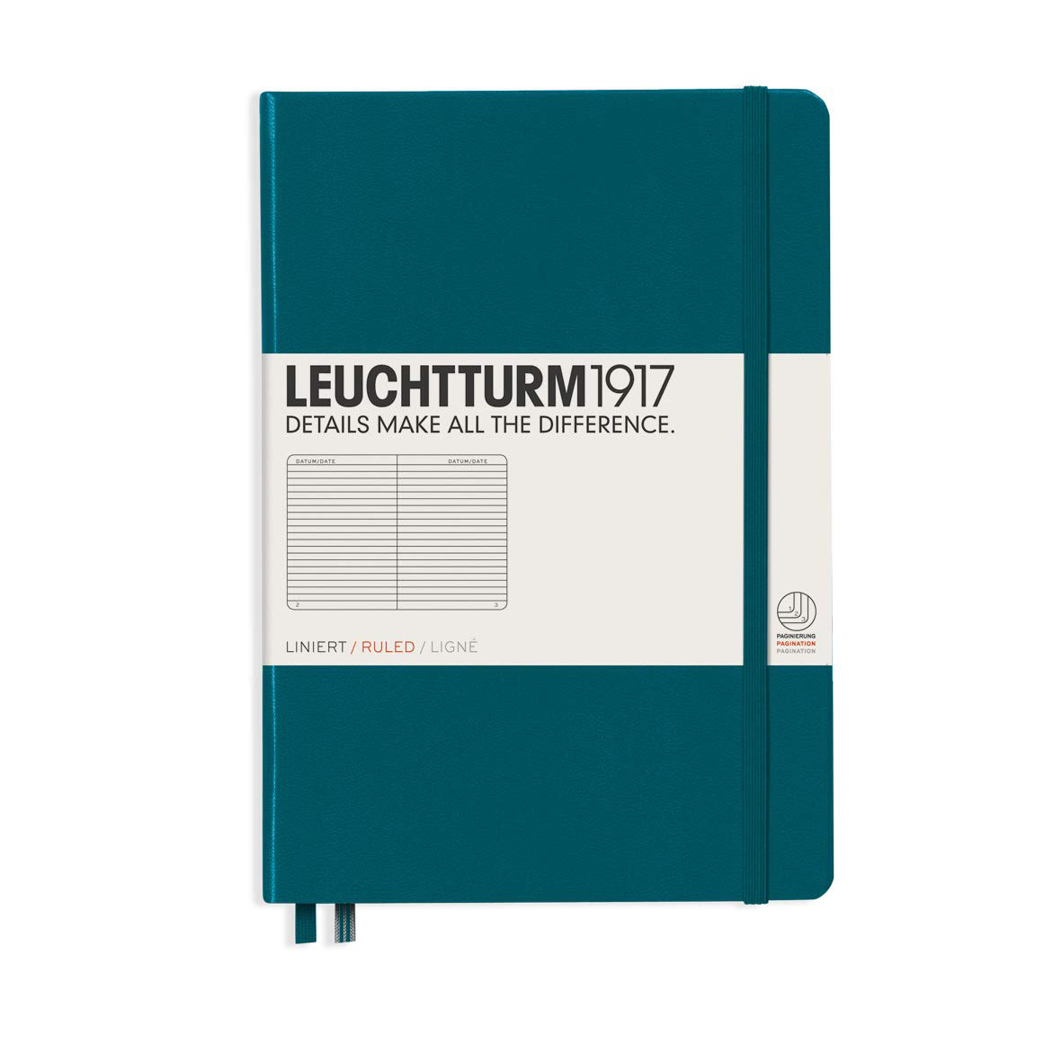 Leuchtturm 1917 A5 Medium Hardcover Notebook Pacific Green Ruled