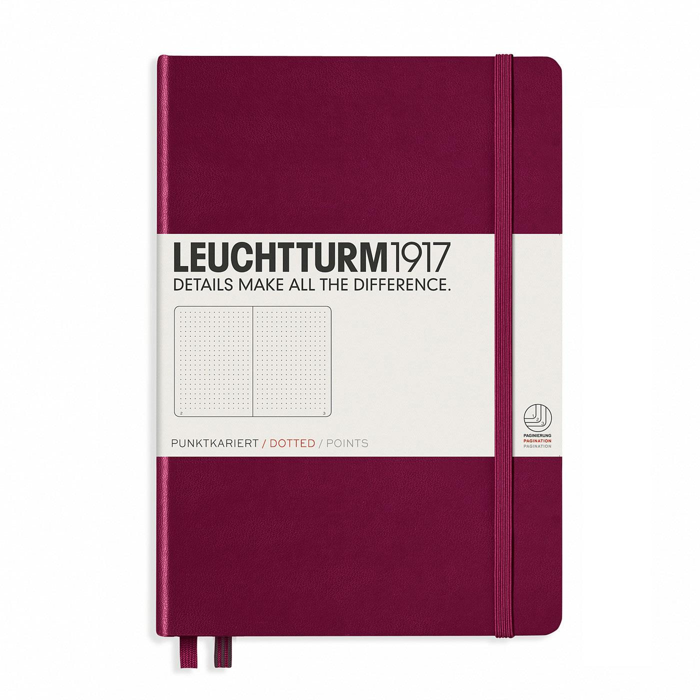 Leuchtturm 1917 A5 Medium Hardcover Notebook – Port Red – Dotted