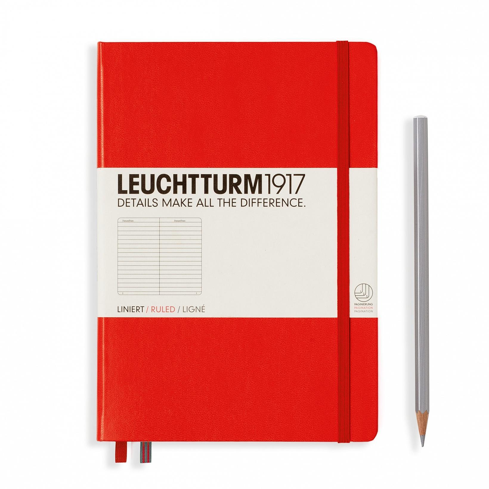 Leuchtturm 1917 A5 Medium Hardcover 249ct Red Ruled