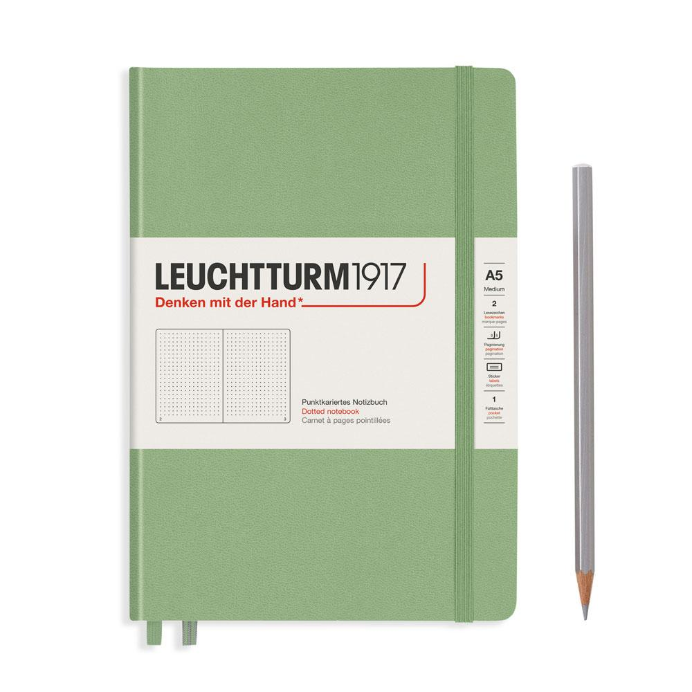 Leuchtturm 1917 A5 Medium Hardcover Notebook – Sage – Dotted