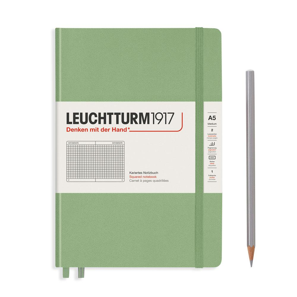 Leuchtturm 1917 A5 Medium Hardcover Notebook – Sage – Grid