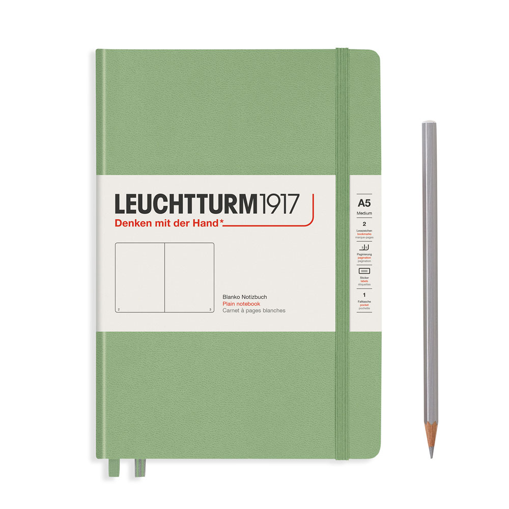 Leuchtturm 1917 A5 Medium Hardcover Notebook – Sage – Plain