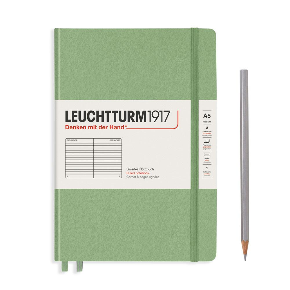 Leuchtturm 1917 A5 Medium Hardcover Notebook – Sage – Ruled