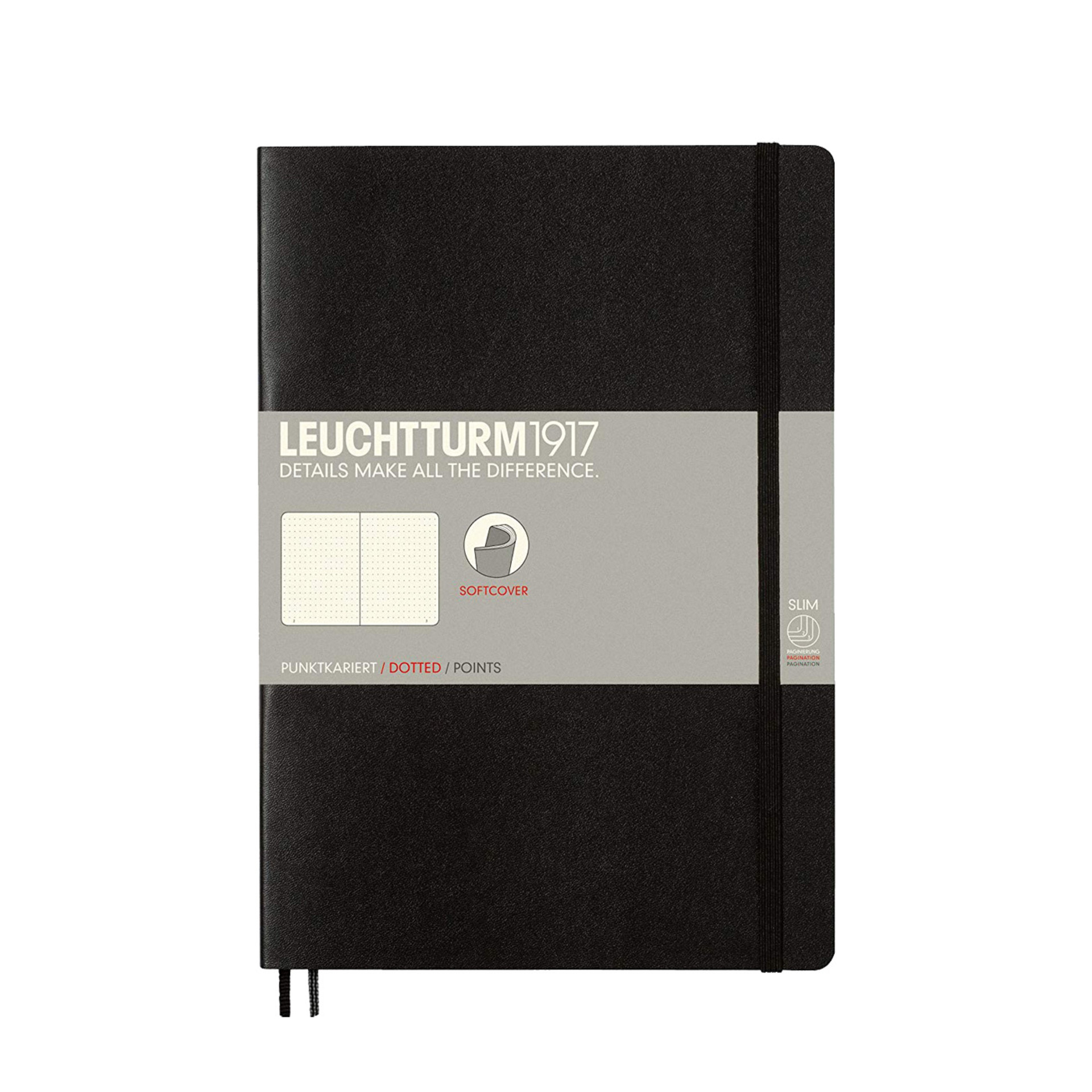 Leuchtturm 1917 B5 Softcover Composition Notebook Black Dotted