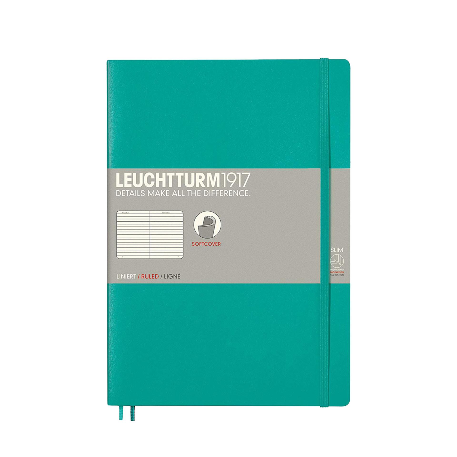 Leuchtturm 1917 B5 Softcover Composition Notebook Emerald Ruled