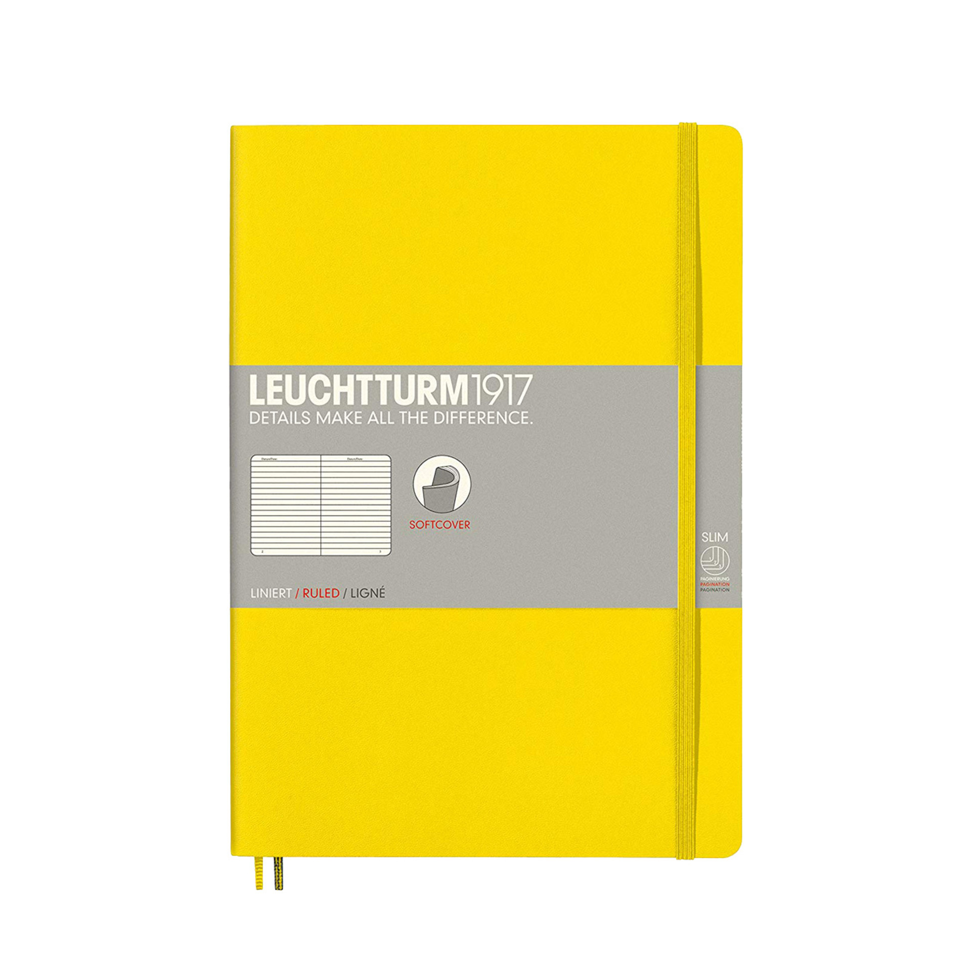 Leuchtturm 1917 B5 Softcover Composition Notebook Lemon Ruled