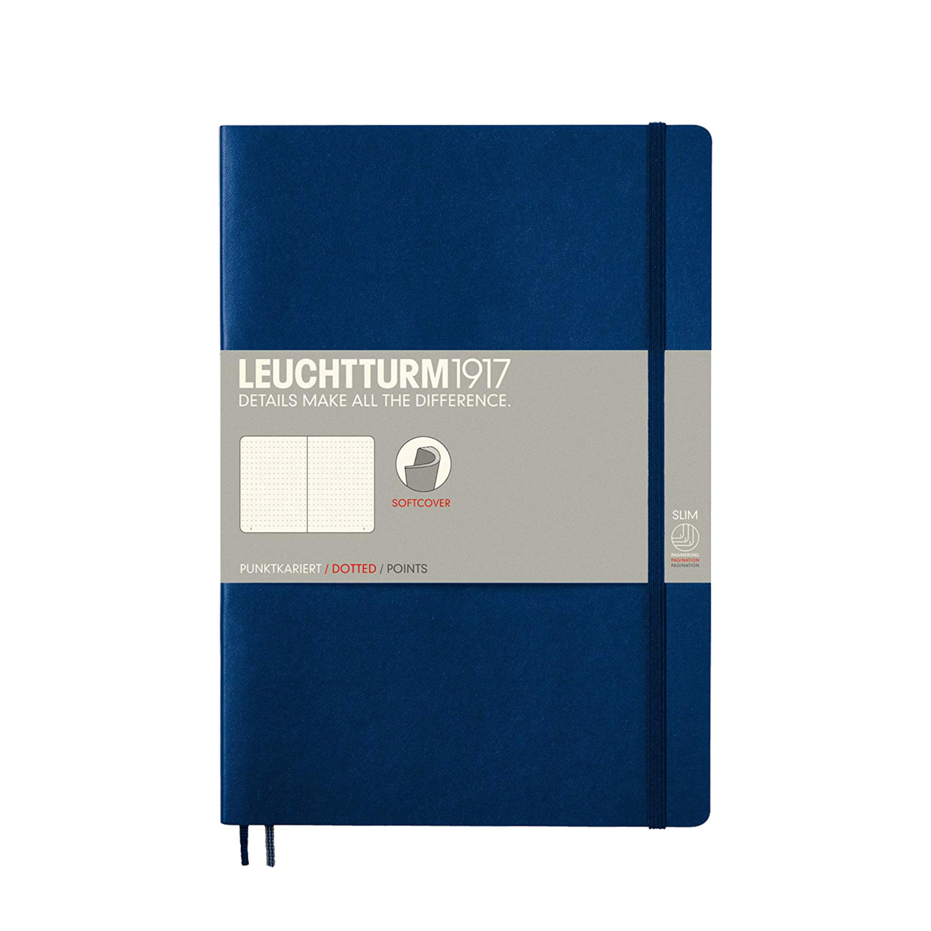Leuchtturm 1917 B5 Softcover Composition Notebook Navy Dotted