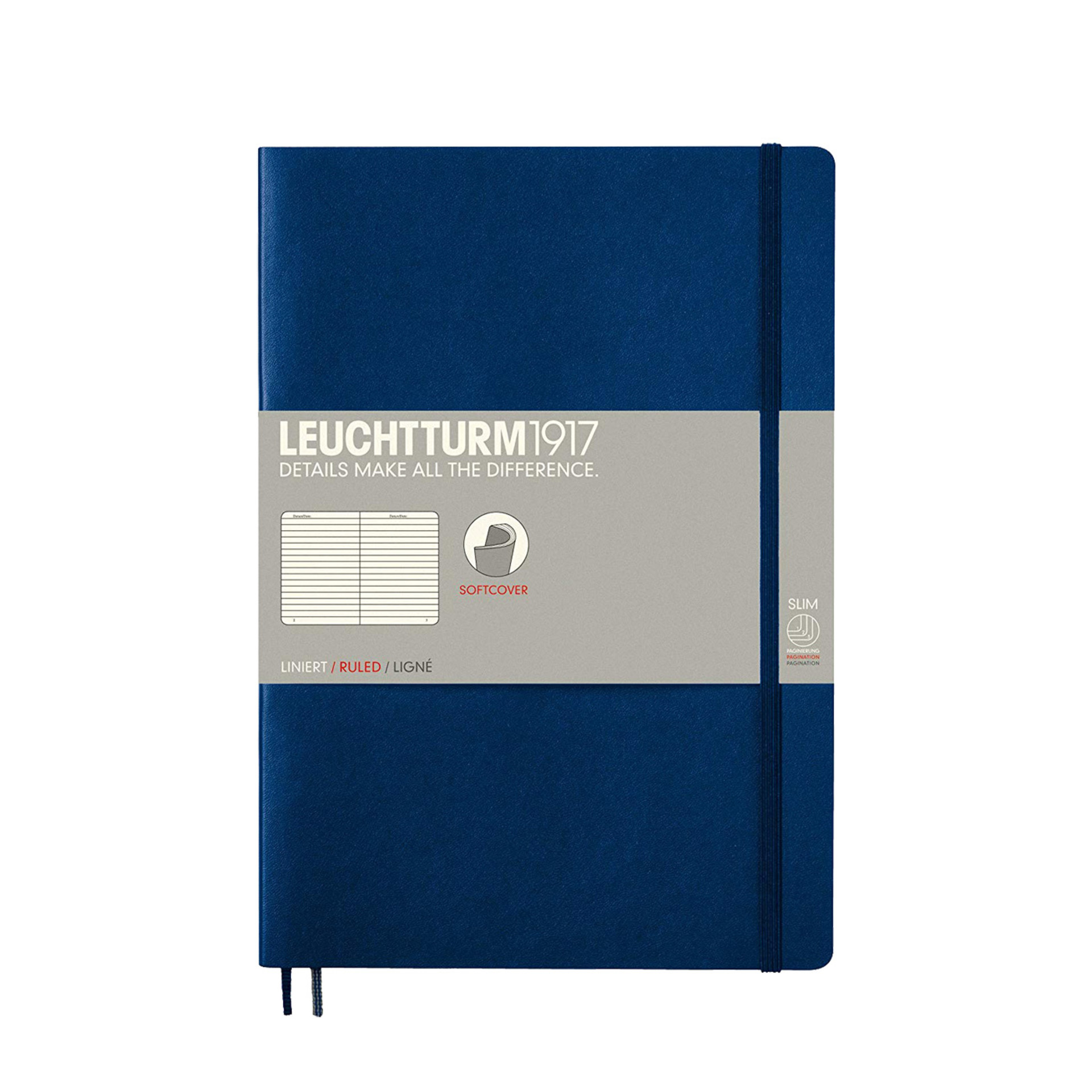 Leuchtturm 1917 B5 Softcover Composition Notebook Navy Ruled