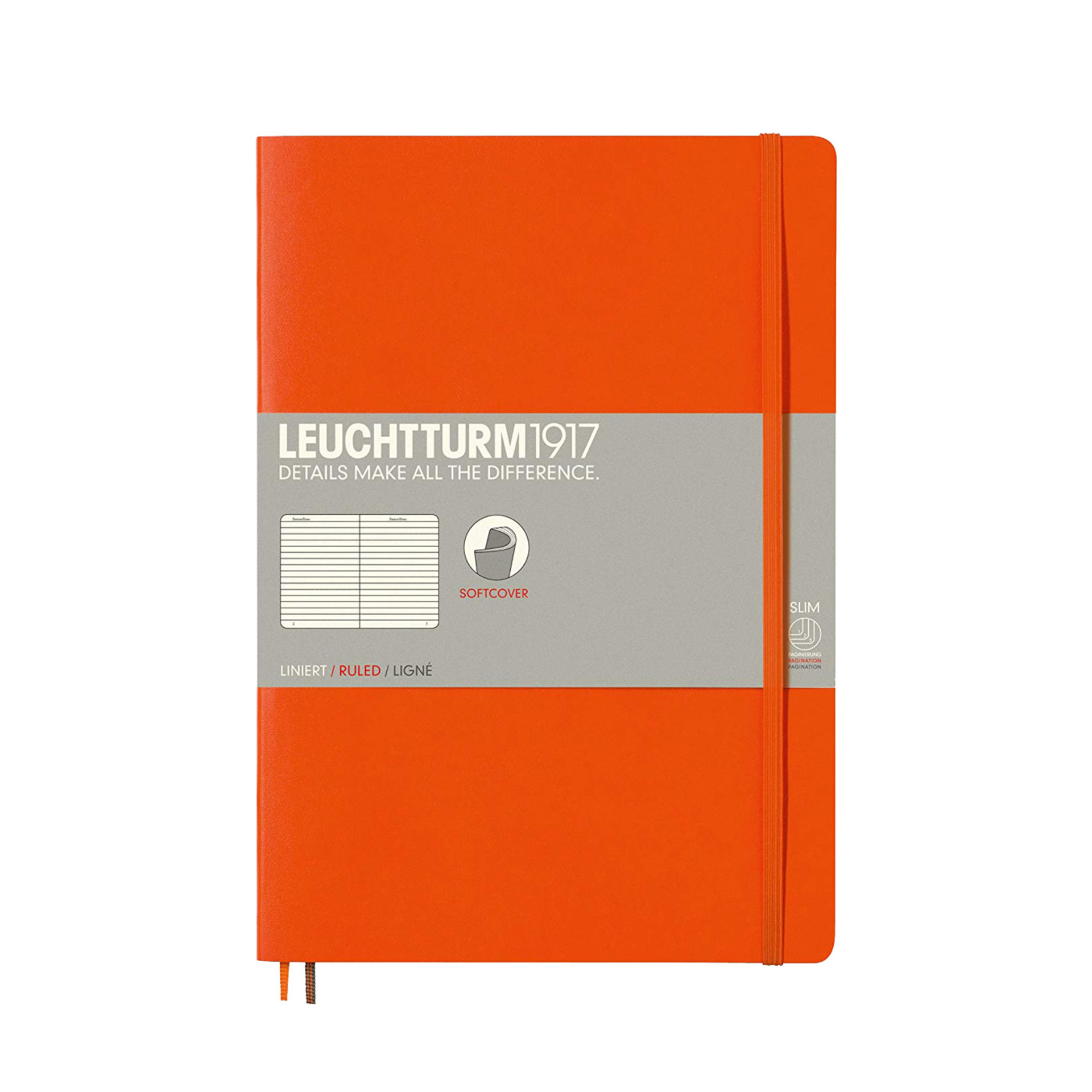 Leuchtturm 1917 B5 Softcover Composition Notebook Orange Ruled