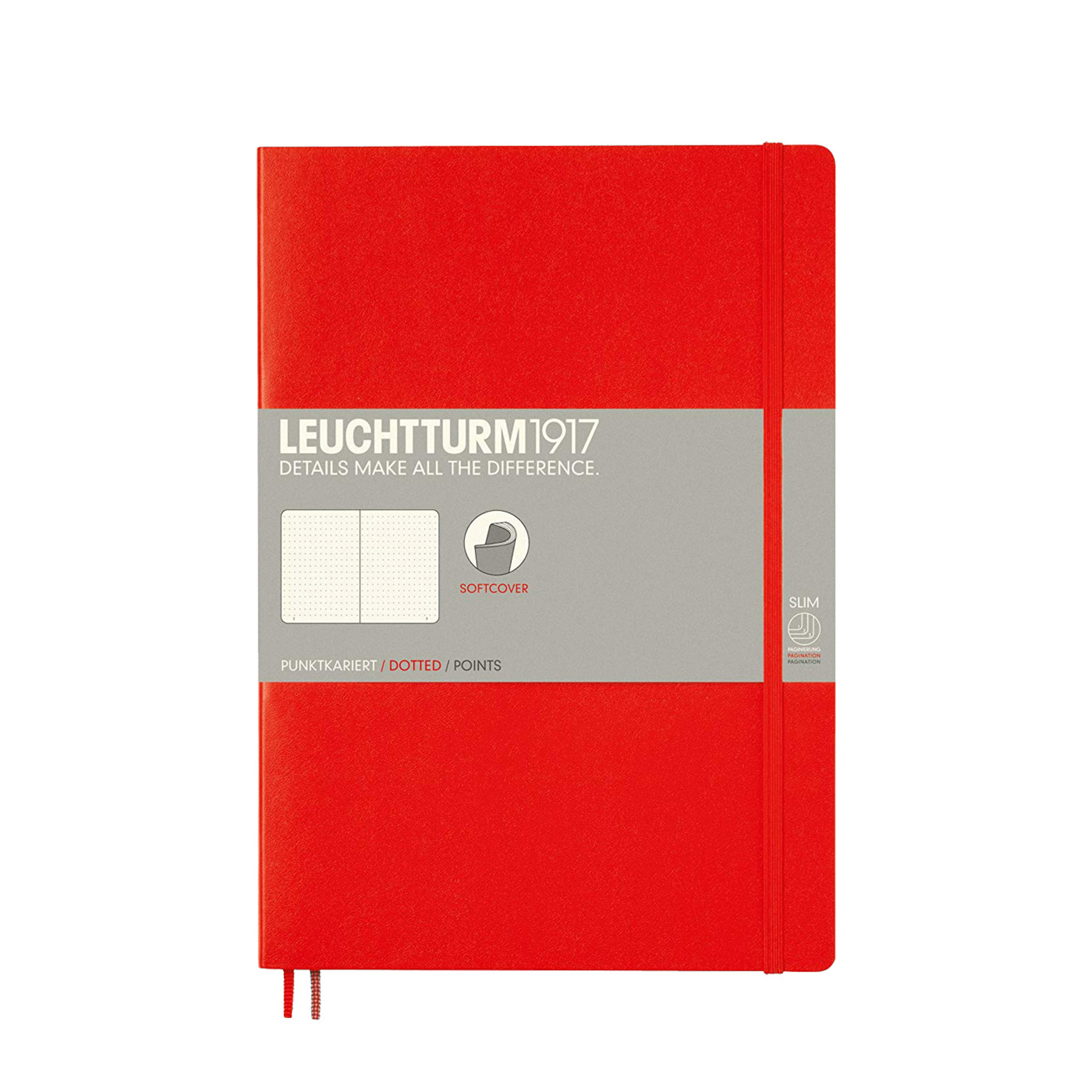 Leuchtturm 1917 B5 Softcover Composition Notebook Red Dotted