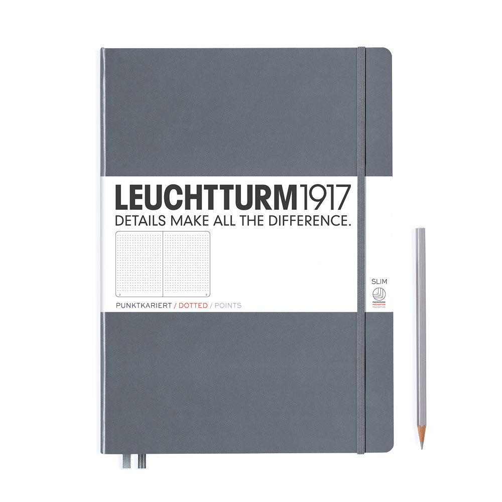Leuchtturm 1917 Master Slim A4+ Hardcover Notebook 121ct – Anthracite – Dotted
