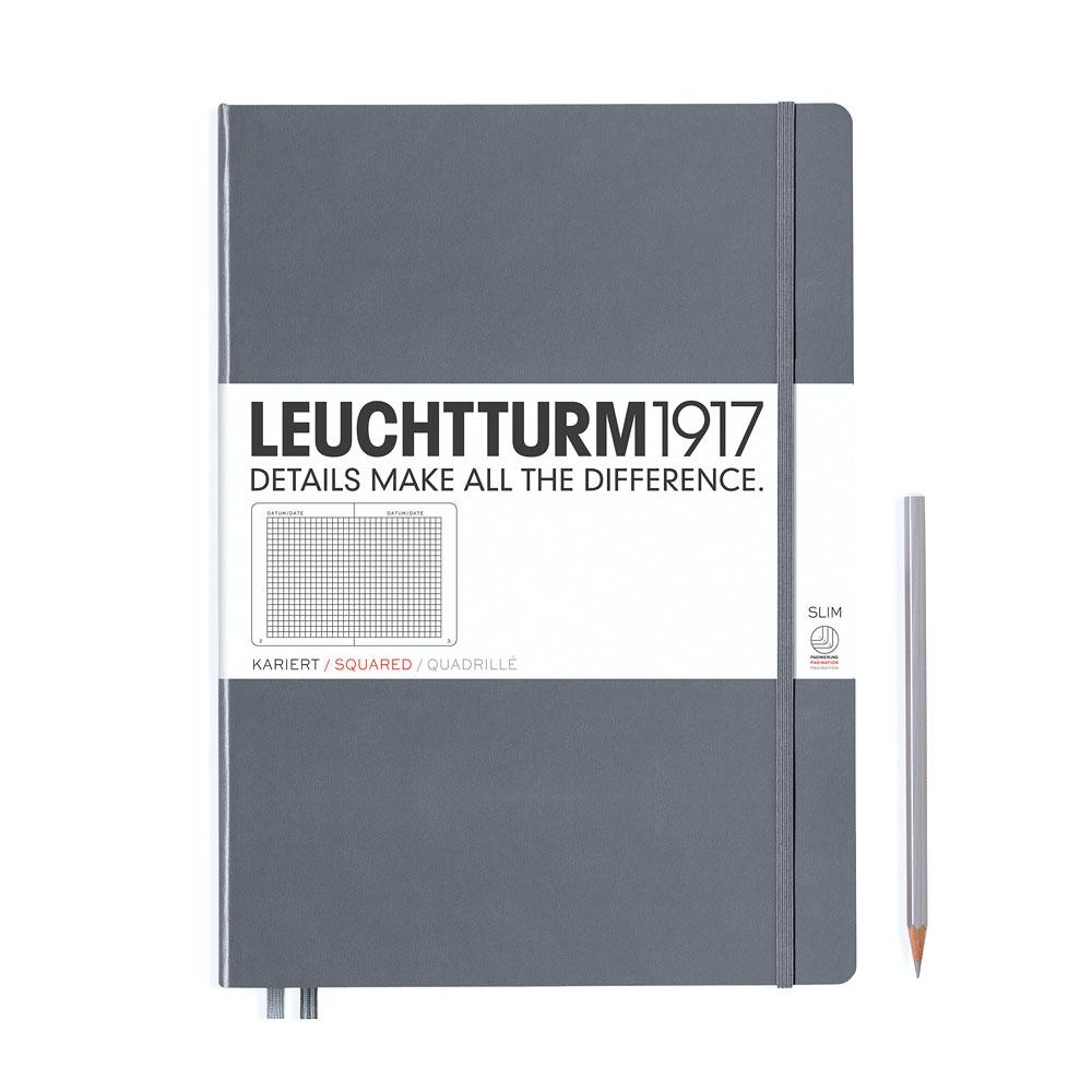 Leuchtturm 1917 Master Slim A4+ Hardcover Notebook 121ct – Anthracite – Grid