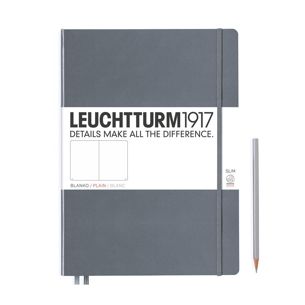 Leuchtturm 1917 Master Slim A4+ Hardcover Notebook 121ct – Anthracite – Plain