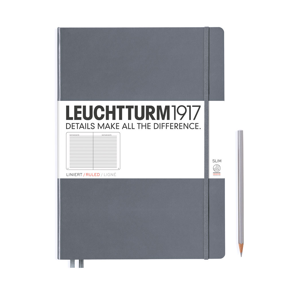 Leuchtturm 1917 Master Slim A4+ Hardcover Notebook 121ct – Anthracite – Ruled