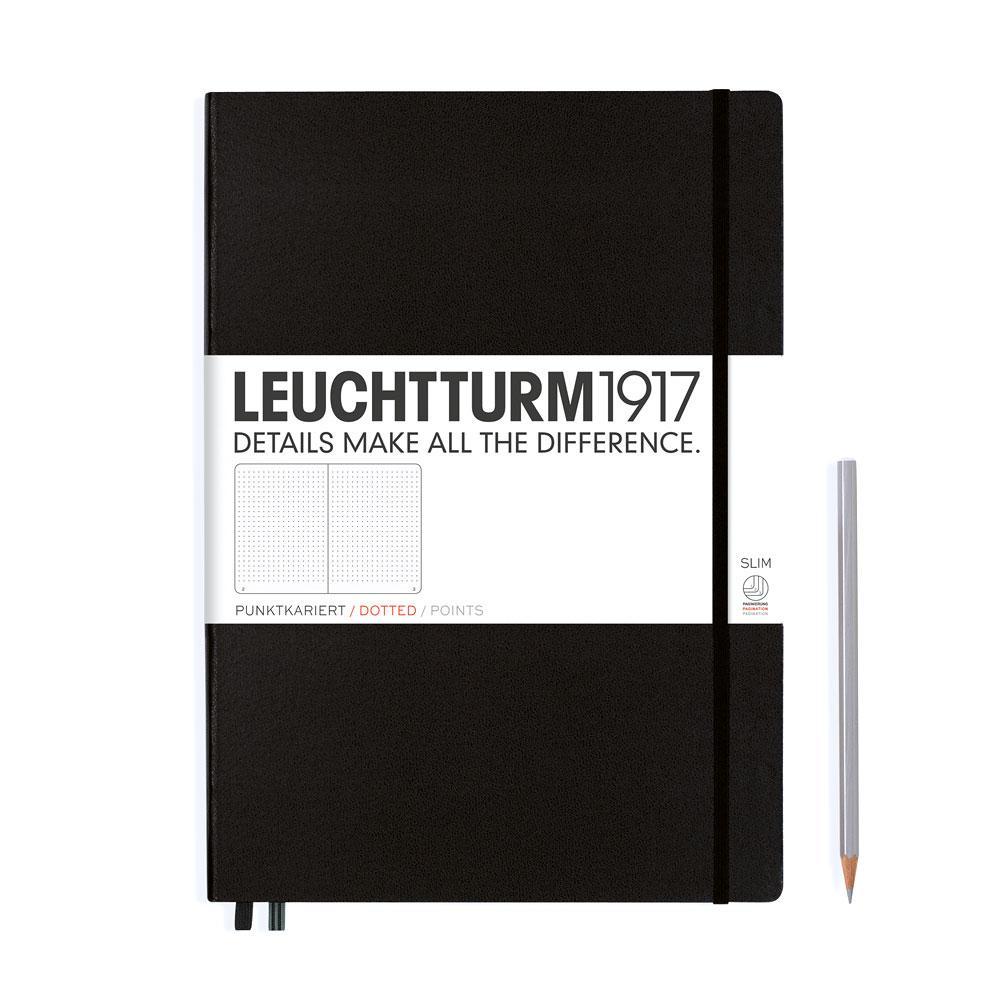 Leuchtturm 1917 Master Slim A4+ Hardcover Notebook 121ct – Black – Dotted