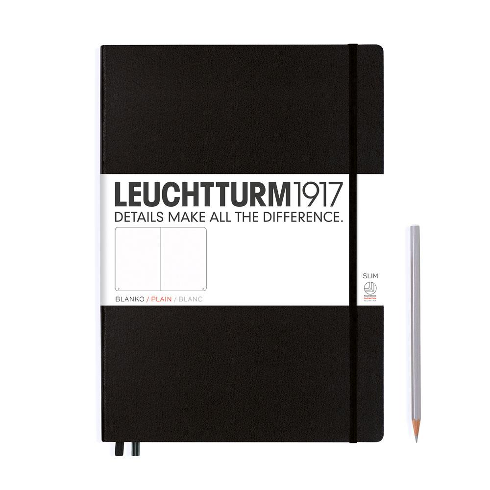 Leuchtturm 1917 Master Slim A4+ Hardcover Notebook 121ct – Black – Plain