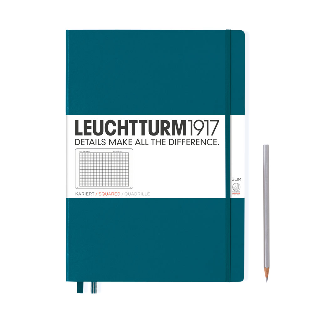 Leuchtturm 1917 Master Slim A4+ Hardcover Notebook 121ct – Pacific – Grid