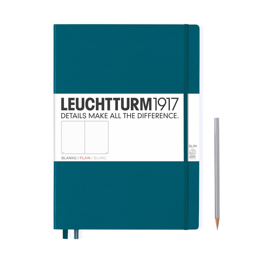 Leuchtturm 1917 Master Slim A4+ Hardcover Notebook 121ct – Pacific – Plain