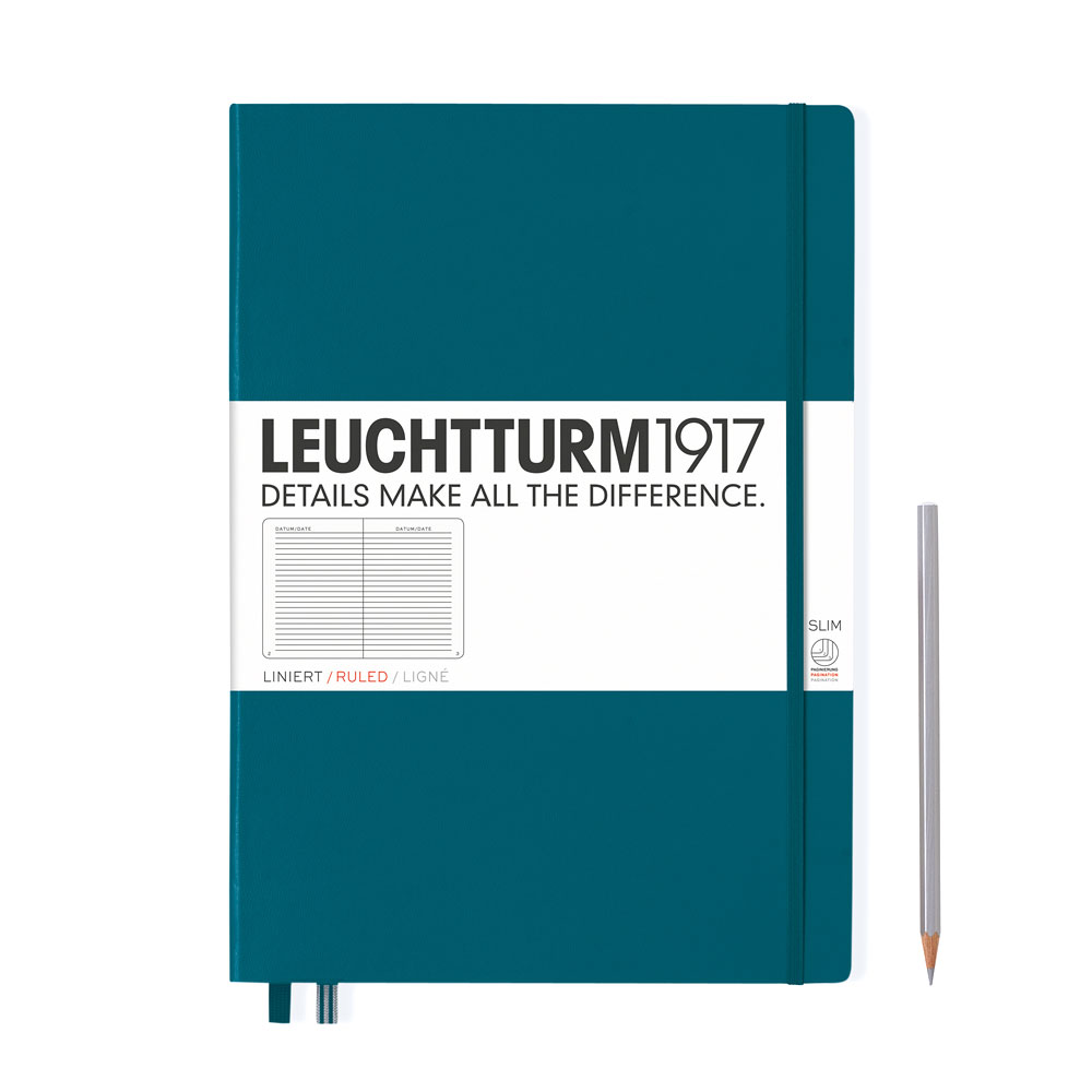 Leuchtturm 1917 Master Slim A4+ Hardcover Notebook 121ct – Pacific – Ruled