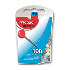 Maped Assorted Colors Round Head Map Pins 100 Count