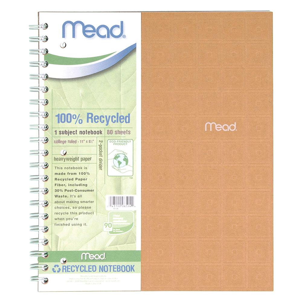 Mead Recycled Assorted 1 Subject College Spiral Notebook