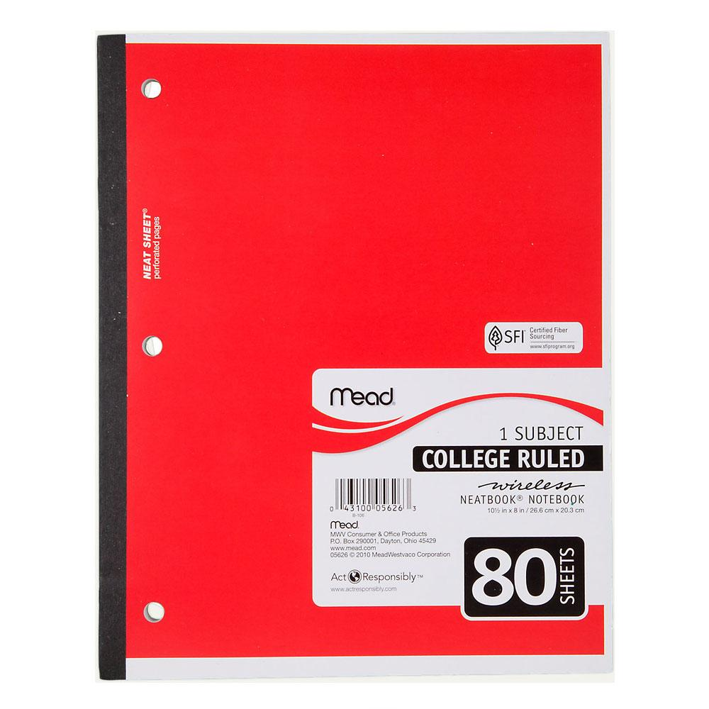 Mead Neatbook Assorted 1 Subject College Rule Glued Notebook