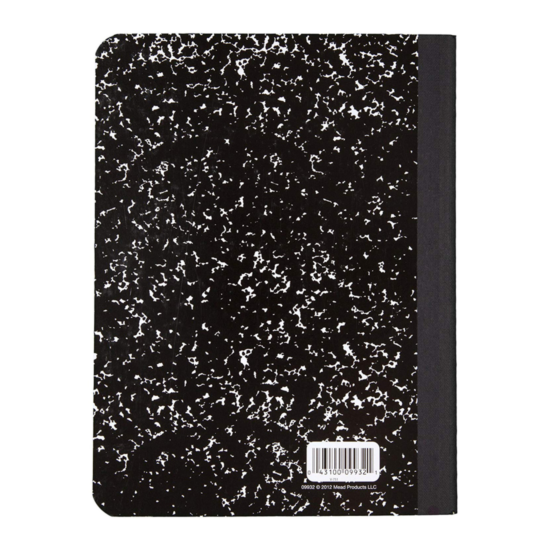 Mead Black Marble College Ruled Composition Notebook Back Cover