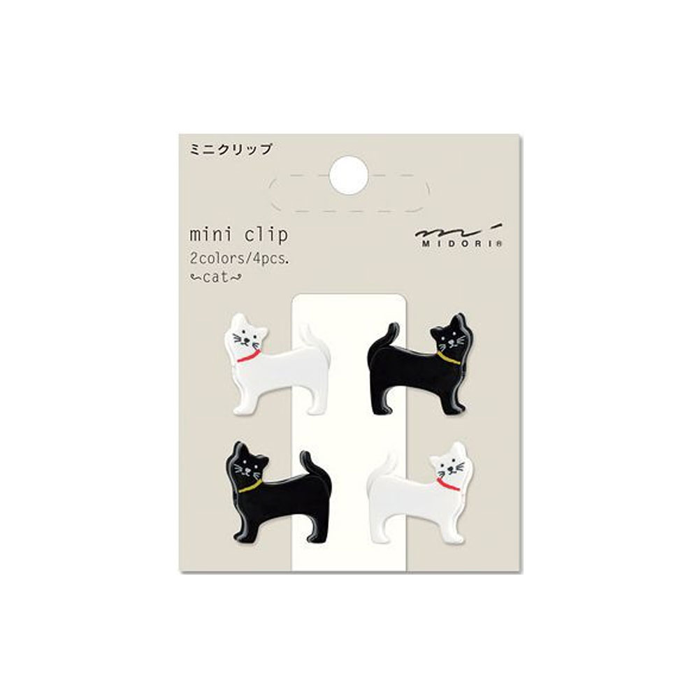 Midori Black and White Cats Mini Clips 4 Count