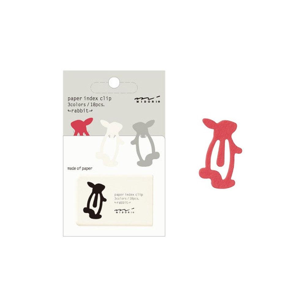 Midori Rabbit Paper Index Clip 18 Count