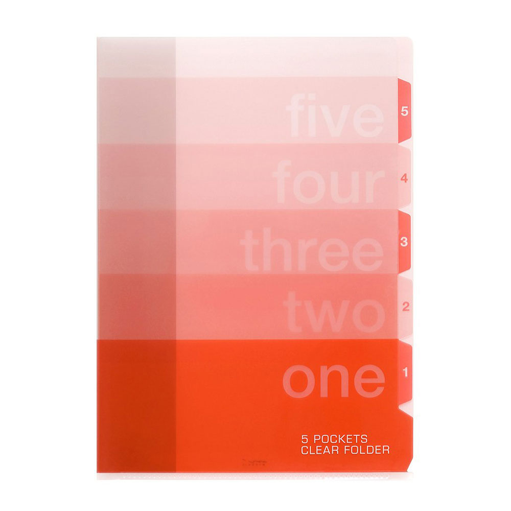 Midori Red Number Puzzle A4 Five Pocket Copy Holder