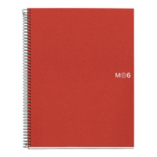 Miquelrius Basic Poly NB6 A4 5mm Grid Spiral Notebook Red