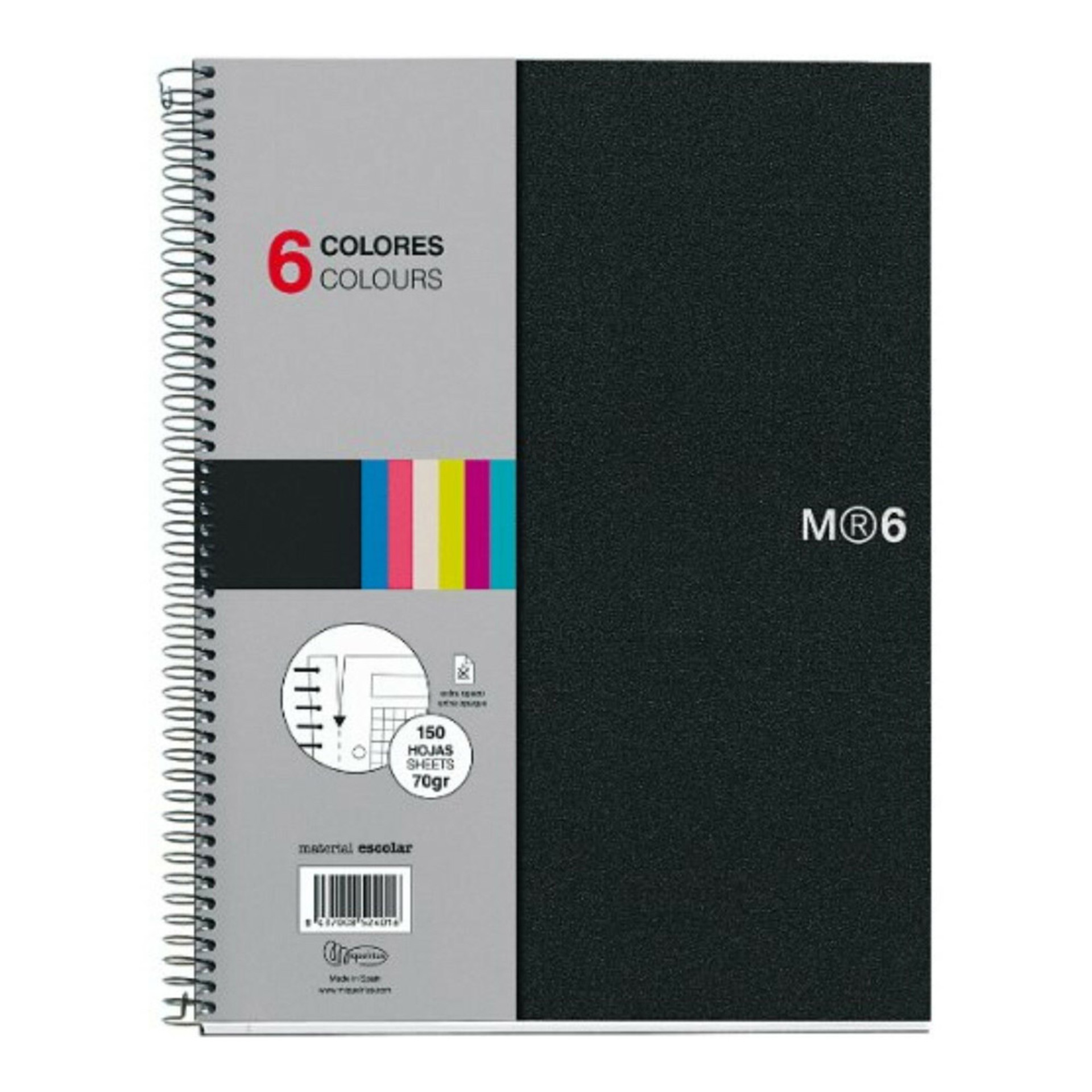 Miquelrius Basic Poly NB6 Lined Spiral Notebook Black