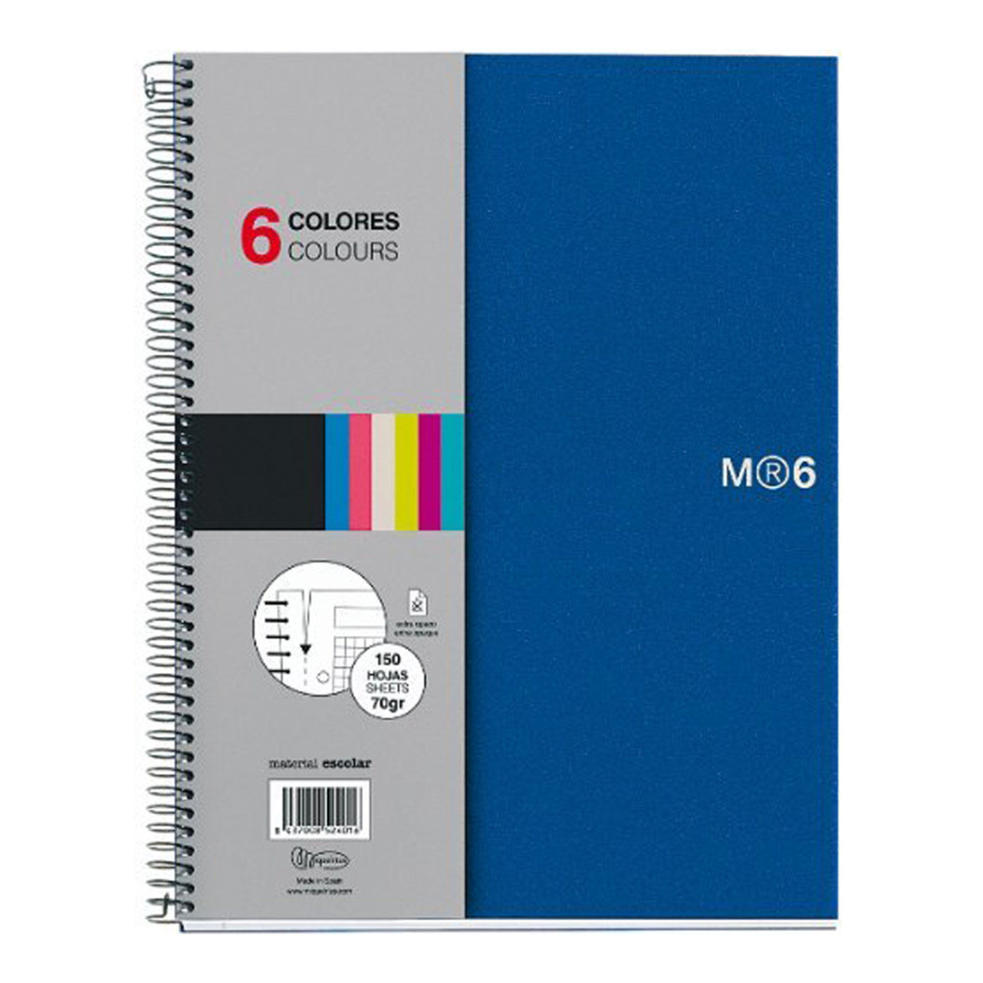 Miquelrius Basic Poly NB6 Lined Spiral Notebook Blue
