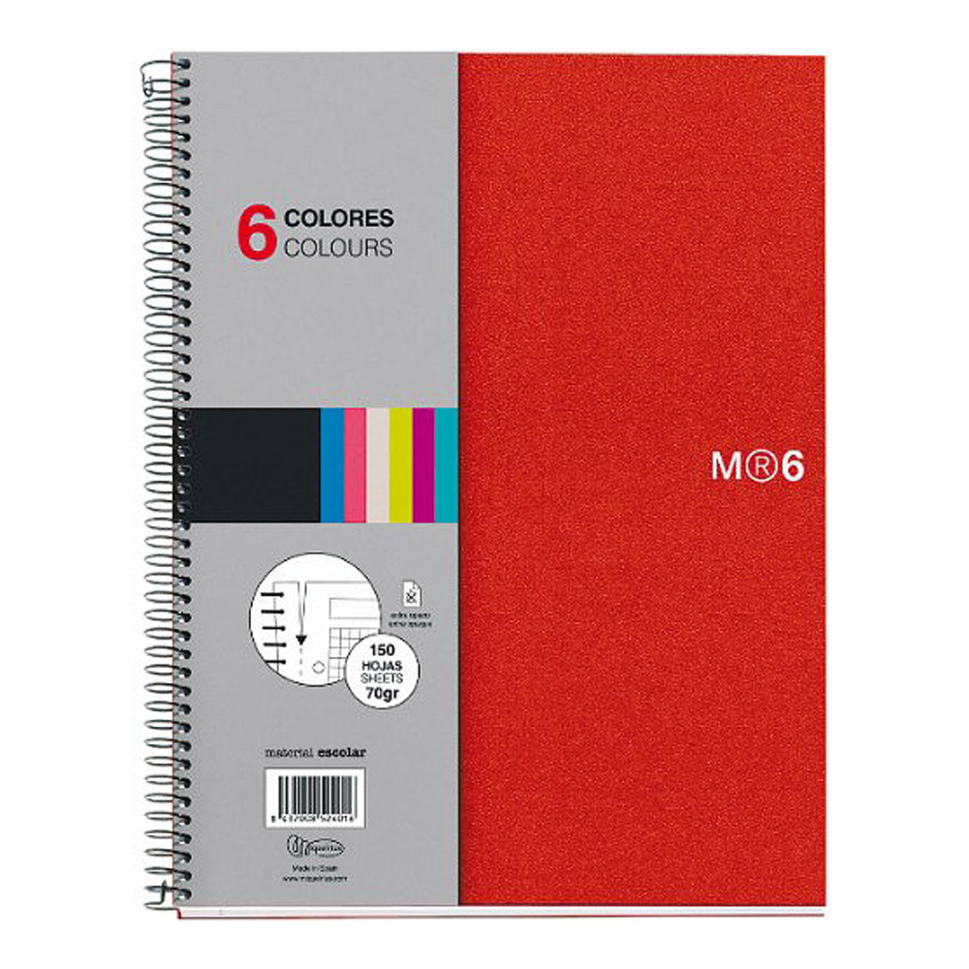 Miquelrius Basic Poly NB6 Lined Spiral Notebook Red