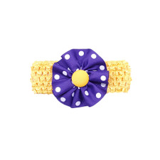 Miss Ashley Baby Toddler Yellow and Purple Polka Dot Rosette on Crochet Headband