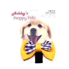 Miss Ashley Yellow and Purple Gingham Dog Bow – Small