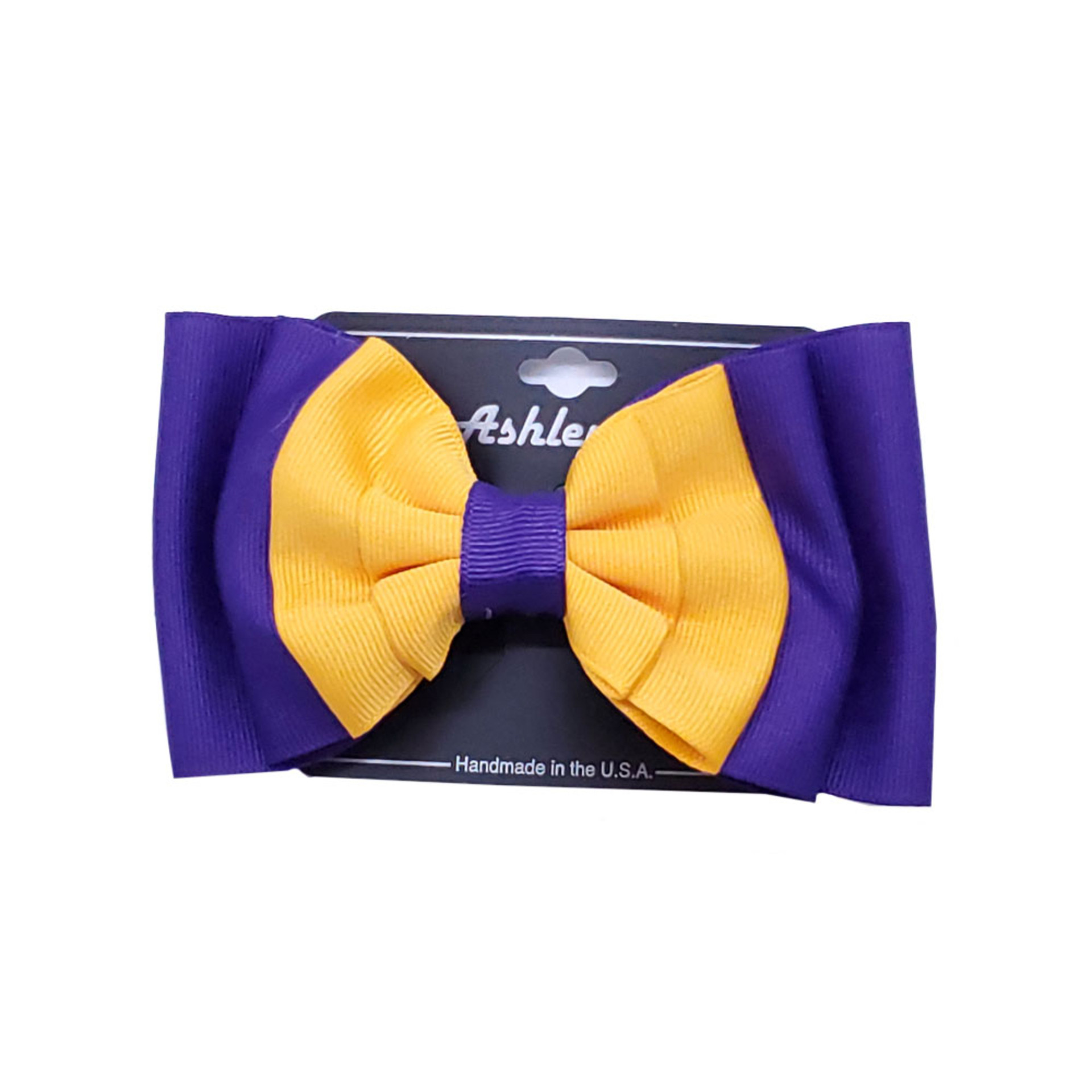 Miss Ashley Yellow and Purple Ruffled Pinch Bow Hair Clip