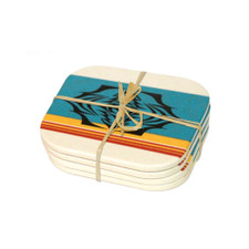 Native Northwest Salish Sunset Bamboo Coaster Set
