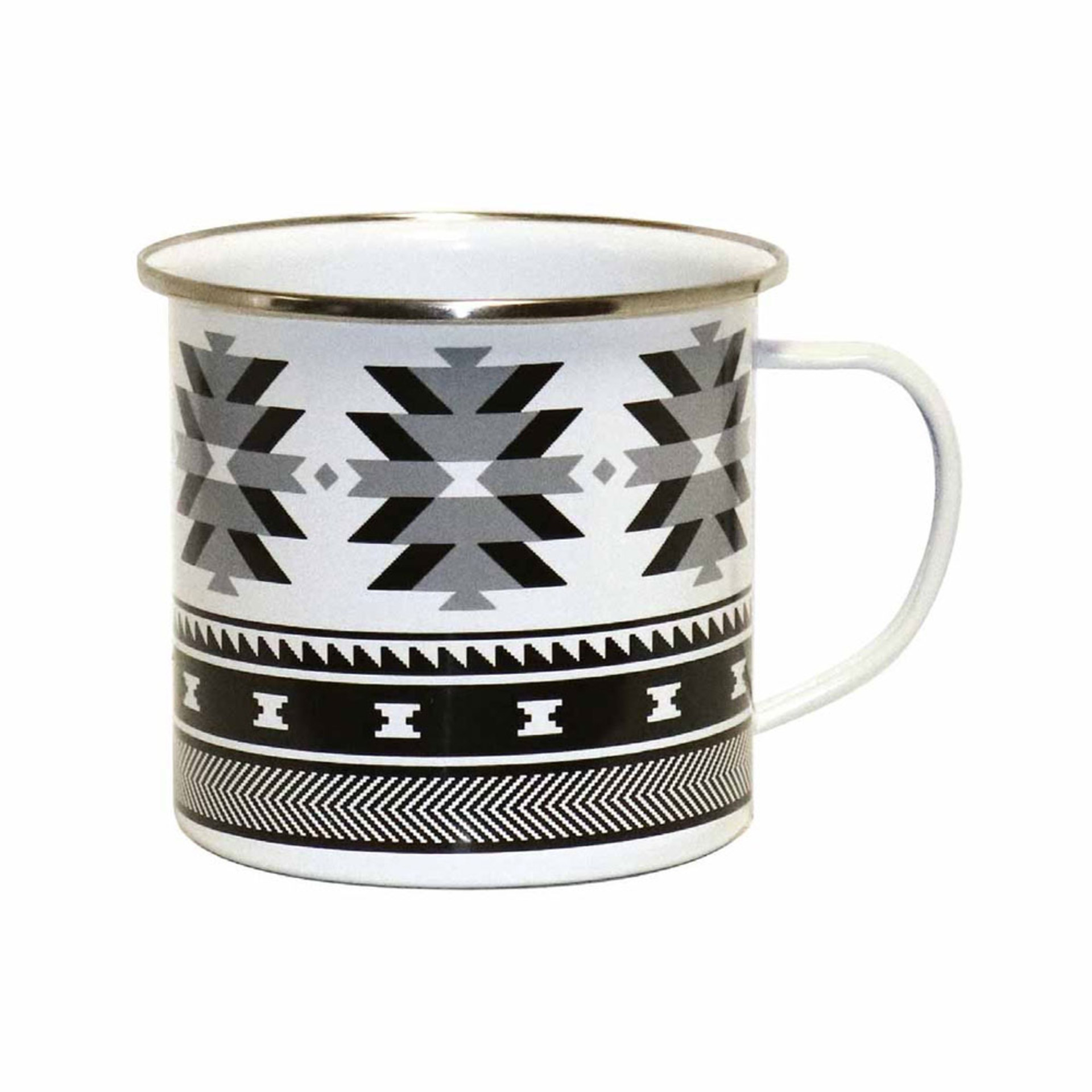 Native Northwest Salish Weaving Enamel Mug by Leila Stogan