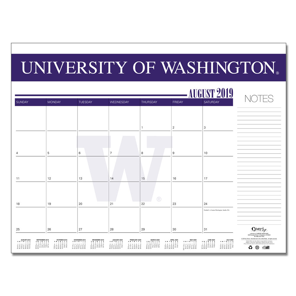"Overly 2019-2020 UW 22""x17"" Desk Calendar Pad"