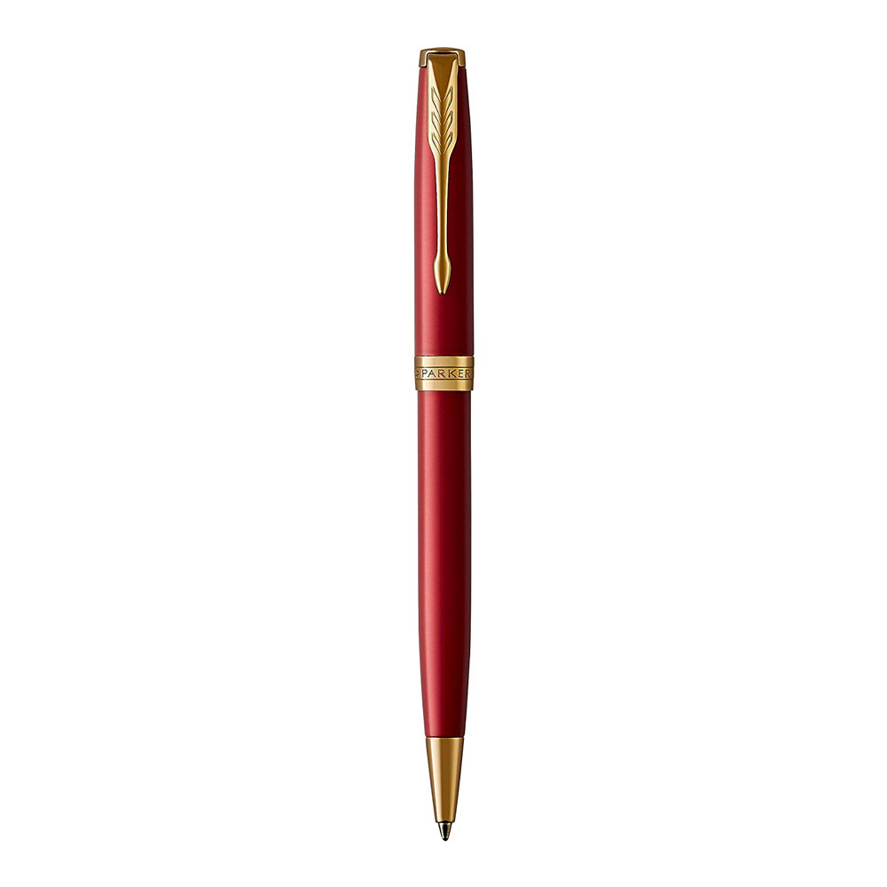 Parker Sonnet Gold Trim Ballpoint Pen Front Red
