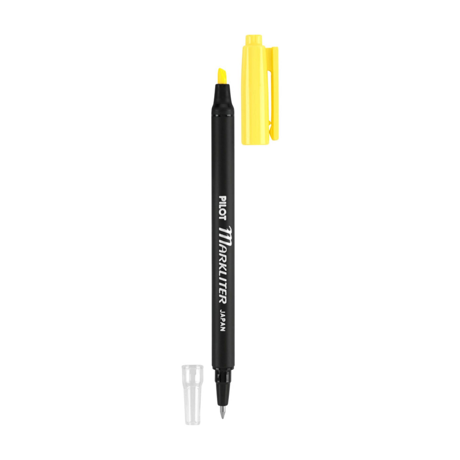Pilot Markliter Dual-Tip Black Pen & Fluorescent Highlighter