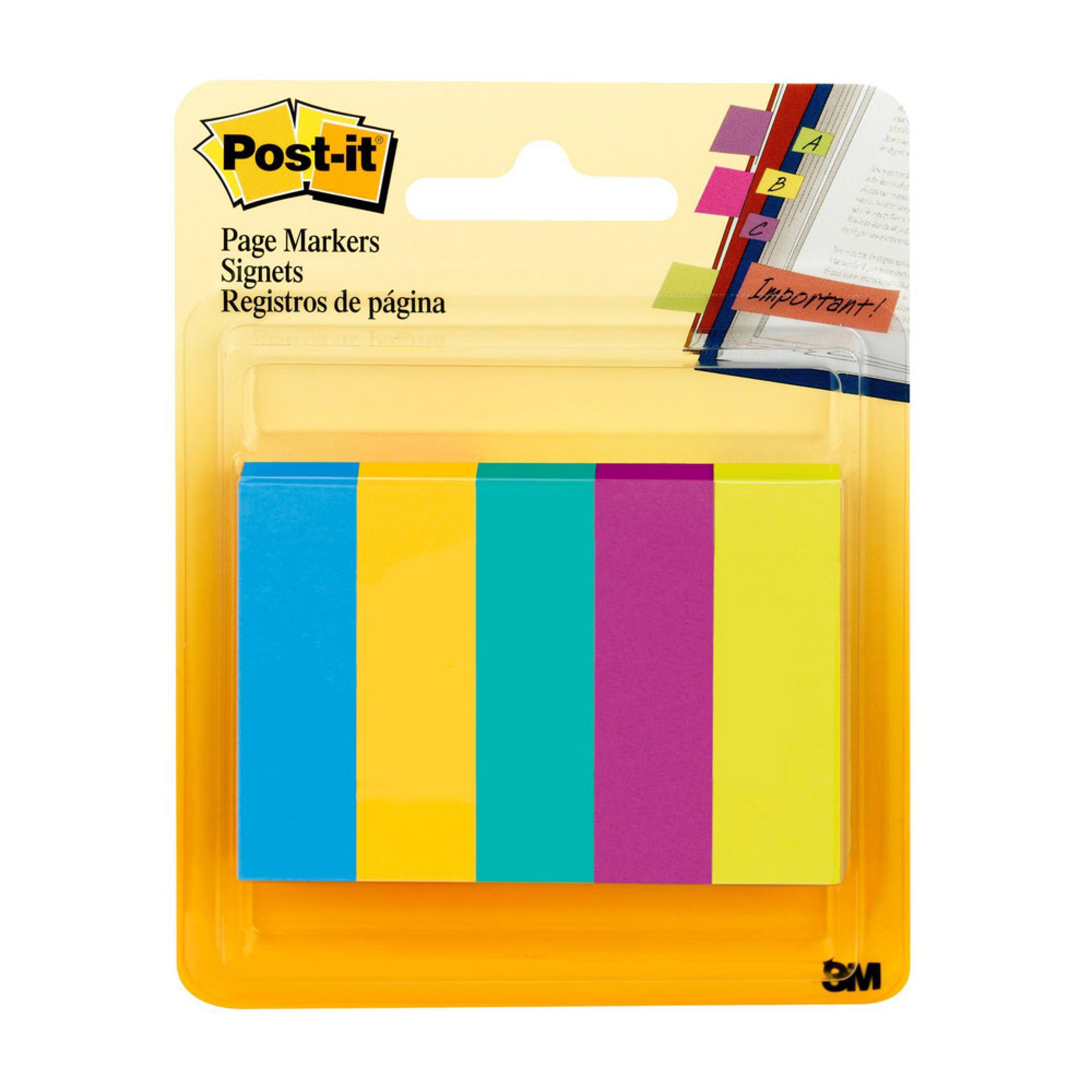 """Post-it Five Ultra Colors 0.5""""x1.75"""" Page Markers 500ct"""