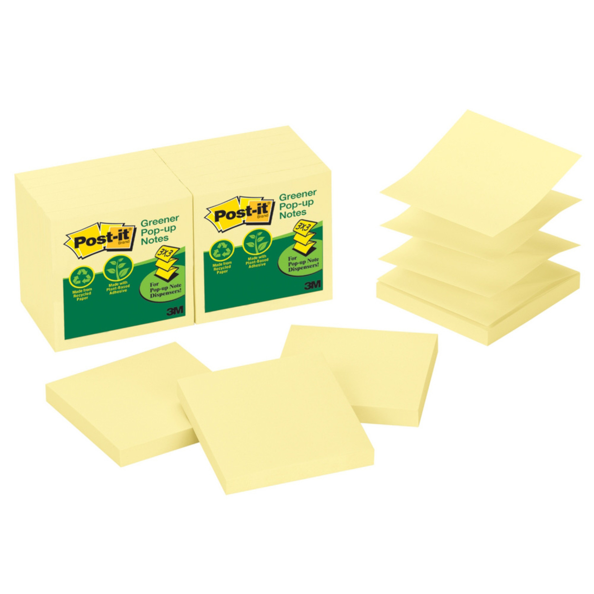 Post-it Canary Greener Recycled Pop-up Sticky Notes
