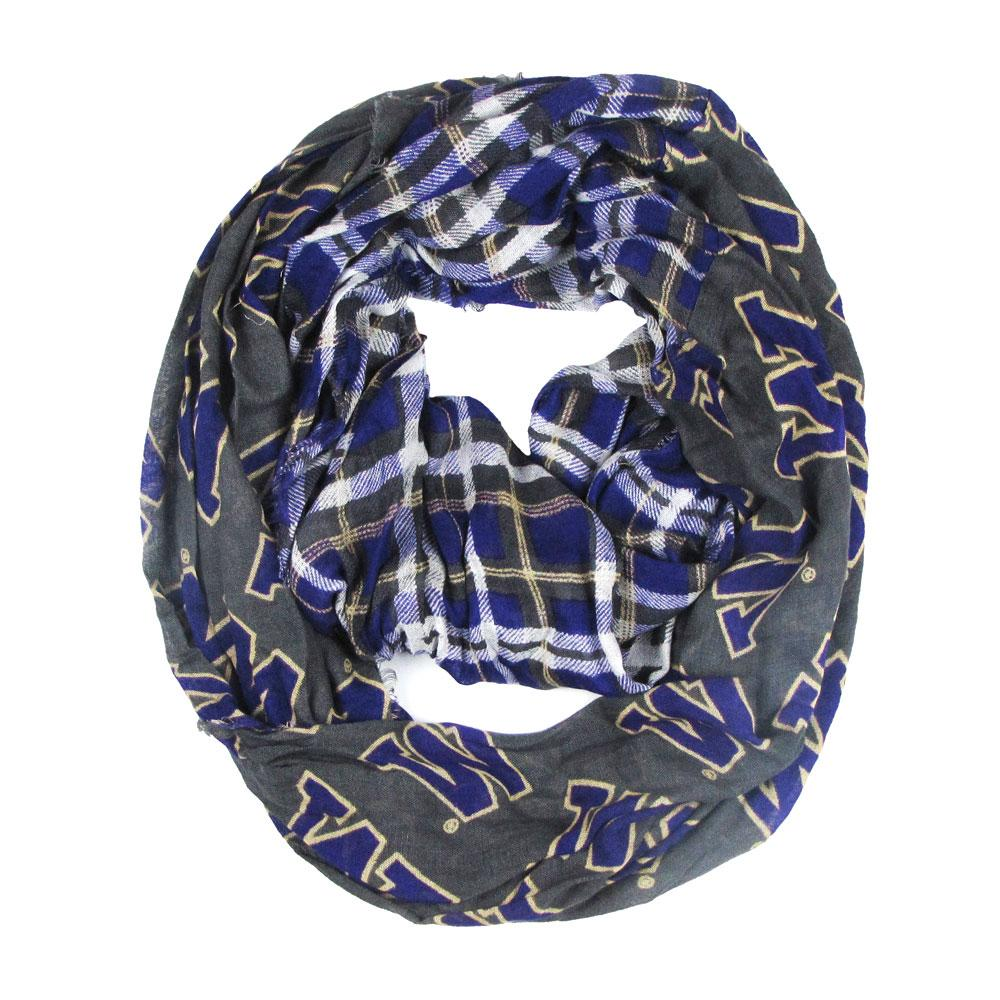Purple Buffalo Check & Gray W Tartan Infinity Scarf