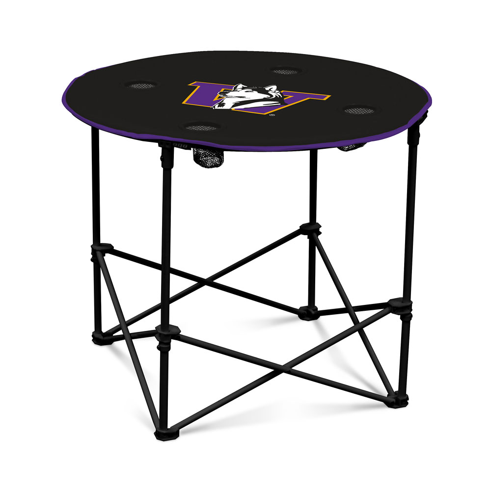 Purple and Black Retro Dog Round Tailgate Table