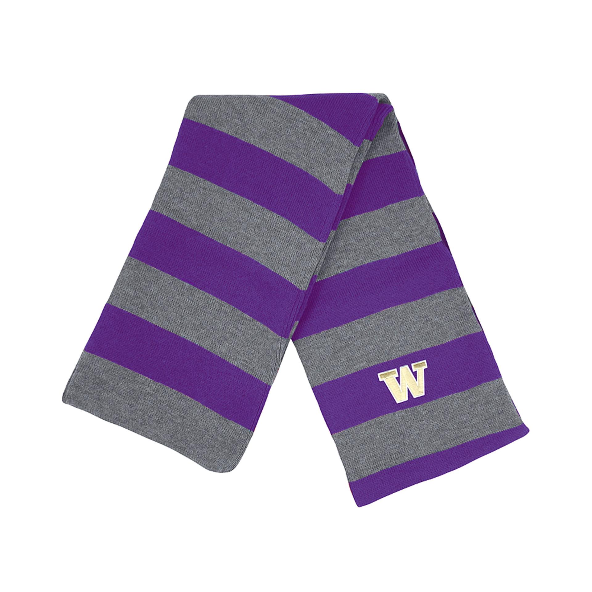 Purple & Gray Stripes UW Niagara Knit Scarf