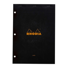 Rhodia Black Lined 3 Holes Top Stapled Front Cover